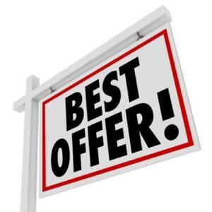 Best Offer White Real Estate Sign Home For Sale Bid